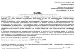 Образец заявления на обжалование протокола гибдд