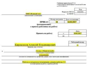Основание издания приказа о приеме на работу