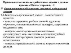 Должностная инструкция медицинской сестры бассейна школы2019