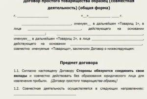 Как заполнить партнерский договор между физическими лицами о совместной деятельности
