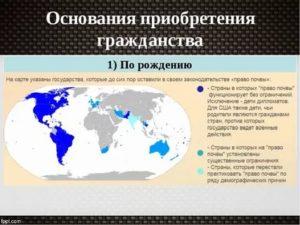 Право на гражданство по рождению в каких странах