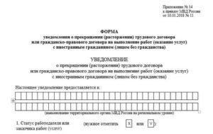 Уведомление об увольнении иностранного гражданина 2019 бланк уфмс