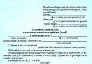 Заявление на алименты образец 2019 скачать бесплатно