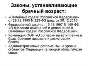Какой брачный возраст установлен законодательством российской федерации